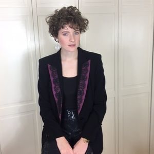 Escada Blk Tuxedo Jacket W/purple Lace Lapel